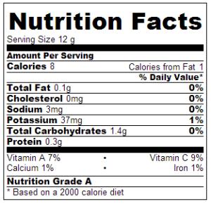 nutrition label pollo limon ajillo