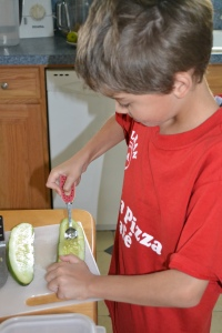Let the kids help in the kitchen! Seeding cucumbers is a job kids 6 and up can handle.
