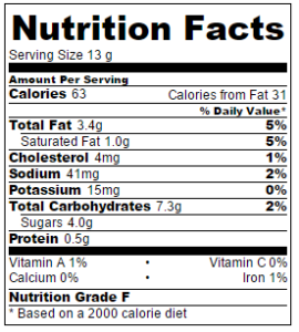Serving size = 1 cookie.
