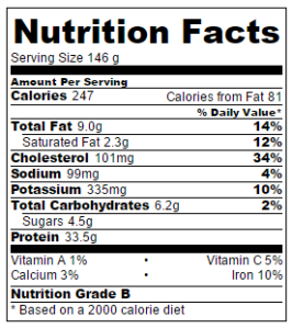 Nutrition facts based on one piece of chicken per serving. This label does not include grilled pineapple or other sides.