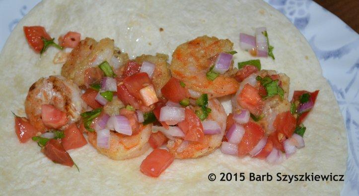 shrimp tacos closeup