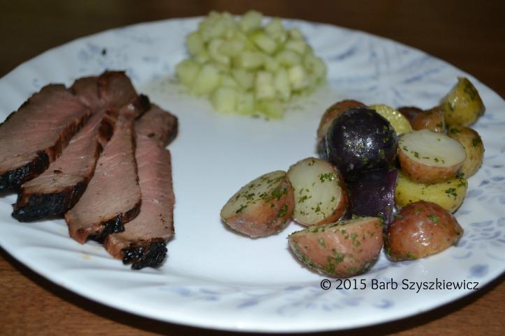 Asian steak with rwb parsley potatoes (8)c