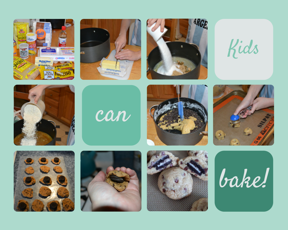 Kids-can-bake-stuffed-cookies collage