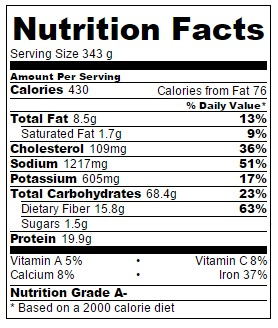 Nutrition information is based on 6 servings.