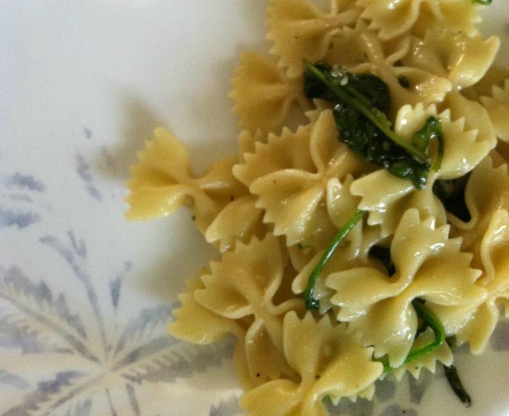 Spinach Garlic Bow Ties