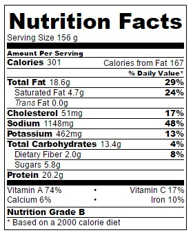Nutrition facts for stir-fry only (no spaghetti)