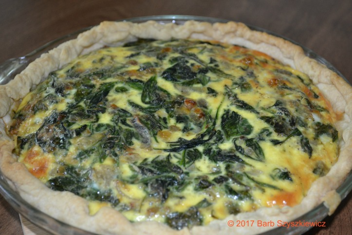"""Spinach Shallot Swiss Quiche"" by Barb Szyszkiewicz (CookandCount.wordpress.com)"