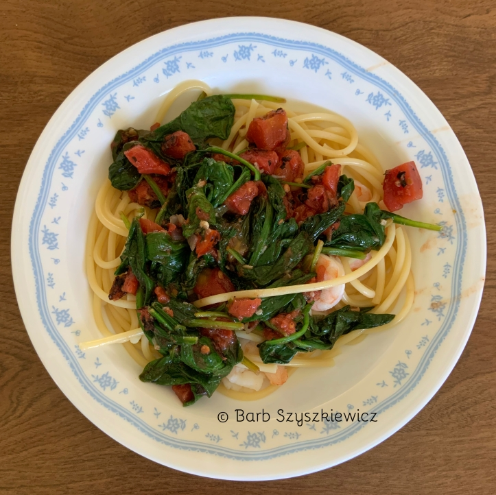 spinach shrimp tomato pasta